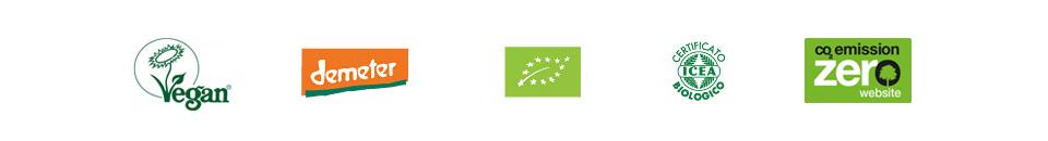 Loghi Vegan Demeter Bio Certificato biologico CO2 emission ZERO