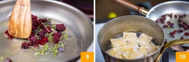 RICETTA RAVIOLI VEGANI DI FARRO con Crema di Zucchine allo Zenzero e Rapa rossa alla Lavanda